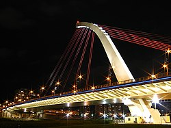 DaZhi Bridge night view, shot from DaJia Riverside Park.