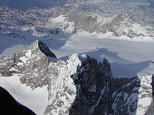 Dachstein Mountains - Aerial shot of the Dachstein from ca. 3,600m. Left: the Lower Dachstein: Rear: the Gjaidstein