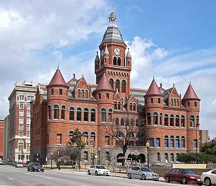 The former Dallas County Courthouse houses the Old Red Museum, displaying artifacts from Dallas County history Dallas County Courthouse - Old Red.jpg