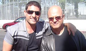 Danny Pardo - Danny Pardo with Michael Chiklis on the set of The Shield