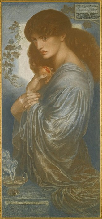Proserpine (Rossetti painting) - A version in colored chalks, dated 1880.