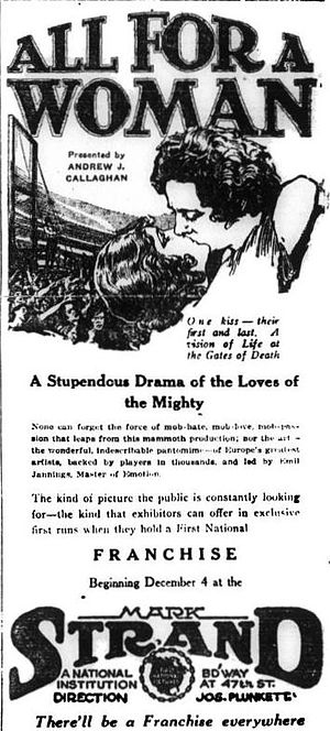 Danton (1921 film) - American advertisement, under its U.S. release title All for a Woman