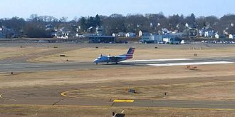 Tweed New Haven Airport - Piedmont Airlines (dba American Eagle) departs New Haven, as seen from the control tower.