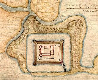 Daugavgrīva castle - Daugavgriva Castle engraved by Giacomo Lauro in 1601.