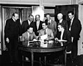 David Dubinsky, Grover Whalen, Julius Hochman, and others meet during the 1933 New York Dressmakers strike. (5279069999).jpg