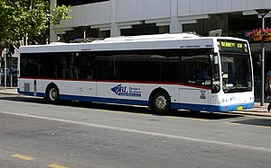 Public transport in Canberra - Deane's Buslines Australian Bus Manufacturing bodied Mercedes-Benz O405NH at City Bus Station in January 2009