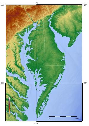 Delmarva Peninsula - Topography of Delmarva Peninsula