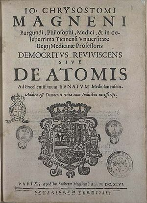 Johann Chrysostom Magnenus - Title page of Democritus reviviscens (1646).