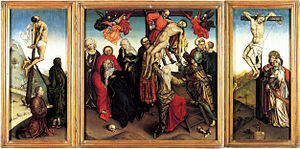 Robert Campin - Descent from the Cross, probable workshop copy of a lost triptych
