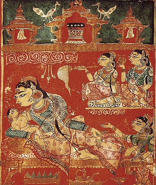 File:Detail of a leaf with the birth of mahavira.jpg