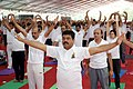 Dharmendra Pradhan along with other dignitaries perform Yoga, at the 3rd International Yoga Day celebration, organised by the Central Oil marketing PSUs, at Bhubaneswar, in Odisha (1).jpg