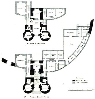 Saltwood Castle - 1885 diagram showing restoration of the gatehouse