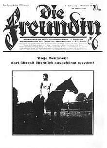 "Reproduction of a German magazine cover with the title ""Die Freundin"" showing a nude woman sitting on a horse, looking behind her."