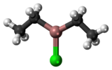 Ball-and-stick model of the diethylaluminium chloride molecule