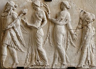 Horae - Dionysus leading the Horae (Neo-Attic Roman relief, 1st century)