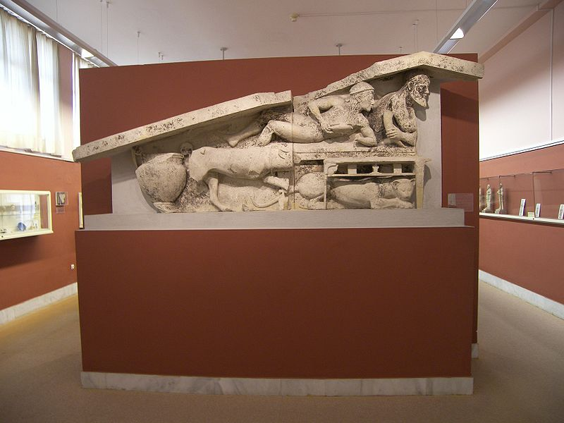 Dionysos Vacchos pediment at the Museum of Corfu.JPG