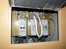 Distribution board in USSR apartment building.JPG
