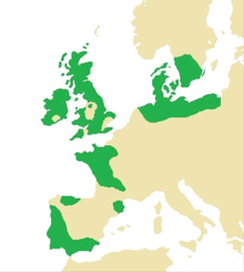 A map of Western Europe with certain areas highlighted in dark green.