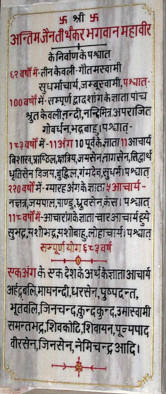 Digambara - Stela at Marhiaji, Jabalpur, showing the transmission of the oral tradition, erected on the 2500th anniversary of Lord Mahavira's nirvana