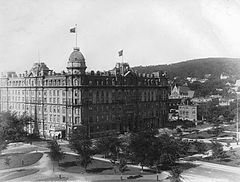 Dominion Square and Windsor Hotel, Montreal, QC, about 1890.jpg