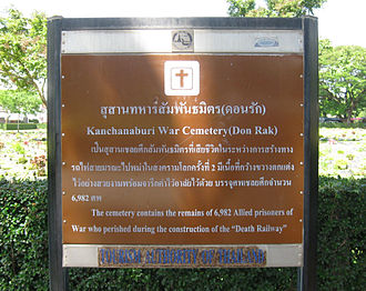 Kanchanaburi War Cemetery - Sign giving both names and number of interments