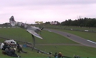 Donington Park - Donington Park showing Spitfire sculpture and track (2005)