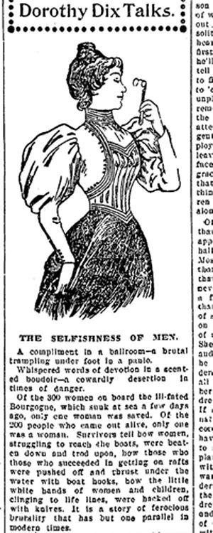 Dorothy Dix - 1898 column denouncing the selfishness of men in the Bourgogne Disaster.