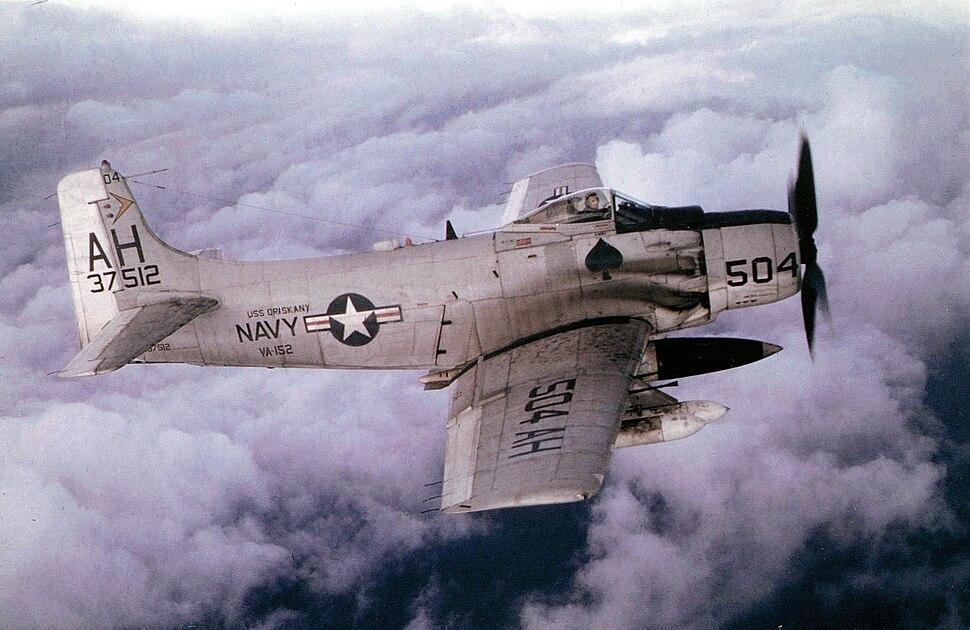 Douglas A-1H Skyraider of VA-152 in flight over Vietnam in 1966 (NNMA.1996.253.2810)