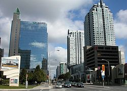 Photograph of downtown North York taken in September 2005 from the west side of Yonge Street, facing north,  outside the Toronto Centre for the Arts.