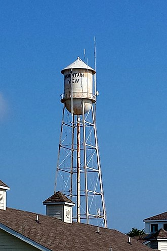 Stone County, Arkansas - Mountain View's downtown water tower is listed on the NRHP