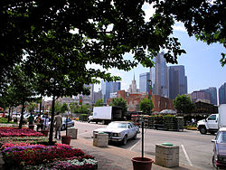 The downtown skyline from the market
