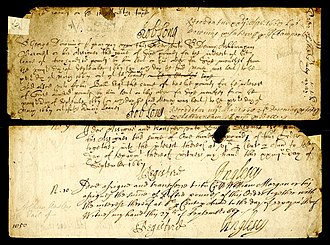 Denny Ashburnham - Letter from Sir Robert Long to Sir George Downing, instructing payment to Sir Denny Ashburnham of £6 interest on £200 lent. 1669
