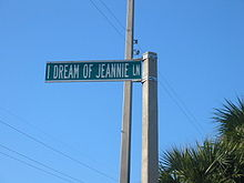 I Dream Of Jeannie Lane Sign In Cocoa Beach Florida