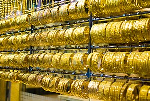 English: Bracelets at the Dubai gold market