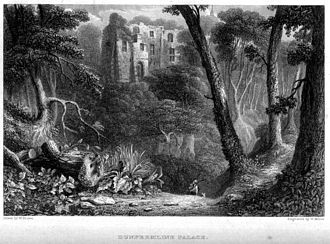 Dunfermline Palace - Dunfermline Palace seen from the Lyne burn, in an engraving by William Miller
