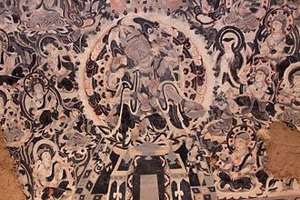 Silk Road transmission of Buddhism - Bodhisattva mural. Chinese work showing Central Asian influence. Mogao Caves, China.