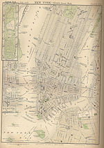 Street Map Of Lower Manhattan And Downtown Brooklyn Dated 1885 Two Years After Completion The Bridge Showing Approaches To