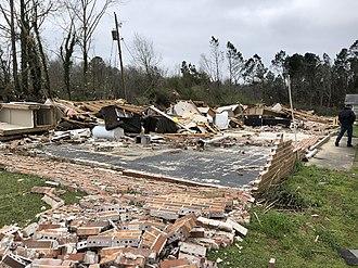 Tornado outbreak of March 3, 2019 - EF3 damage to an unanchored brick duplex in Talbotton, Georgia.