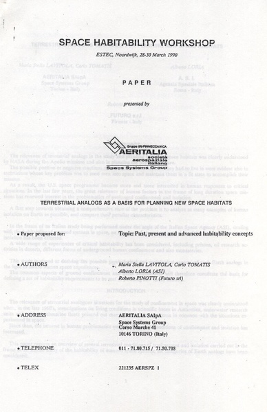 File:ESTEC Space Habitability Workshop, Noordwijk (NL) 1990.pdf