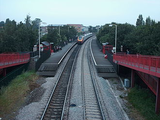 East Garforth railway station - The view westward from the foot bridge