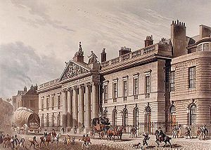 Law of Singapore - The East India House, the headquarters of the East India Company, in Leadenhall Street, London, as seen c. 1817; it was demolished in 1869.