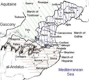 History of Catalonia - By the second half of the ninth century, three political subdivisions (marches) existed in the eastern Pyrenees: Toulouse (green), Gothia (blue), and Hispania (pink).