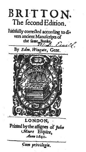 Edmund Wingate - Image: Edmund Wingate (ed), Britton (2nd ed, 1640, title page)