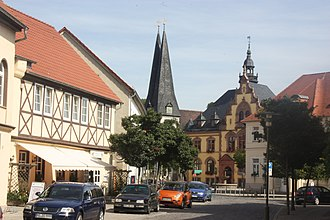 Egeln - Market square, St Christopher's Church and town hall