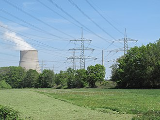 Emsbüren - cooling tower of the Emsland Nuclear Power Plant, view from Elbergen
