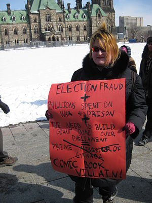 2011 Canadian federal election voter suppression scandal - A woman protesting the robocall scandal on Parliament Hill