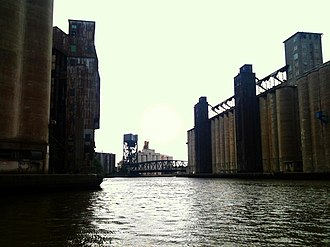 """Economy of Buffalo, New York - """"Elevator Alley"""", the stretch of the Buffalo River immediately adjacent to the harbor that is lined with historic grain elevators"""