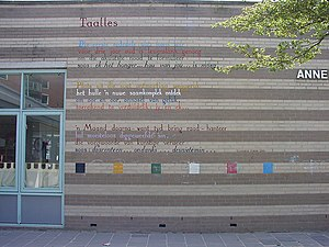 Elisabeth Eybers - Taalles by Elisabeth Eybers as a wall poem in Leiden