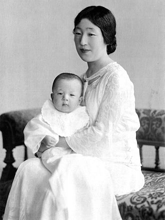 Akihito - Empress Nagako with her first son, Prince Akihito, in 1934