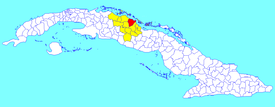 Encrucijada municipality (red) within  Villa Clara Province (yellow) and Cuba